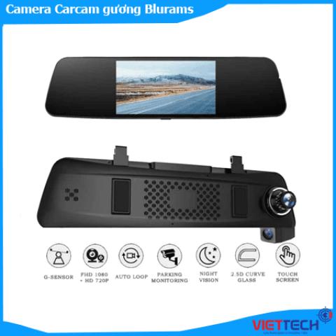 Camera hành trình Carcam gương Blurams GPS, Wifi, cảnh báo ADAS thông minh