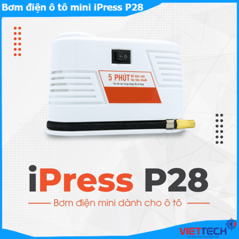 Bơm điện ô tô mini ICar iPress P28 thiết kế nhỏ gọn, bơm hơi tốc độ nhanh